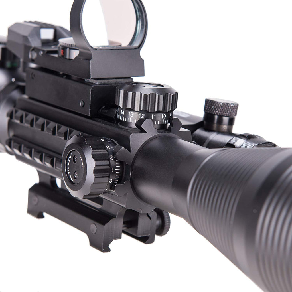 4-12x50EG Illuminated Scope with Green Laser & Red-Green Reflex Site Combo Set