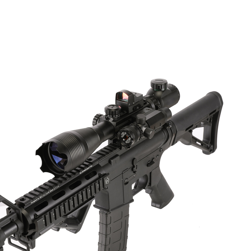 5 Piece AR-15 Package - 4-16x50 Illuminated Scope, Green Laser, Mini Dot Sight, .223 Bore Sight and Bipod