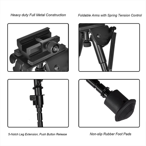 "Image of Heavy Duty Adjustable 6-9"" Bipod Stand with Spring Return and 360 Deg Swivel Adapter"