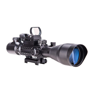 4-12x50EG Rangefinder Illuminated Scope with Green Laser & Red-Green Reflex Site Combo Set