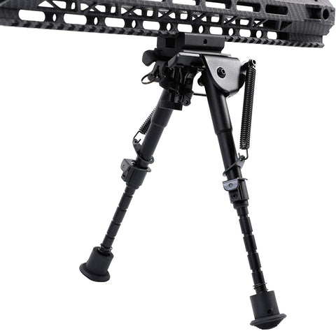 Image of Bipod 6-9 inch Adjustable Height Stand with Spring Return Legs Compatible with Picatinny Rail System - Hardened Steel and Aluminum Alloy