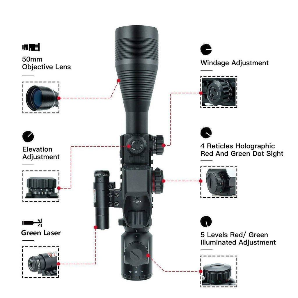 3 Piece Scope Package 4-12x50 Illuminated Scope, Red or Green Laser and Holographic Dot Sight