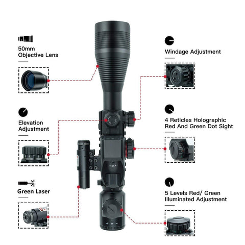 TAC-5: 4-12x50 Illuminated Reticle Scope Package - Includes 4 Mode Dot Sight and Green or Red Laser