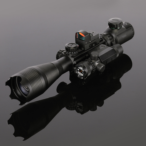 3 Piece Set 4-12x50EG Red Laser or 4-16x50 Green Laser Tactical Rifle Scope+Holographic Dot Sight
