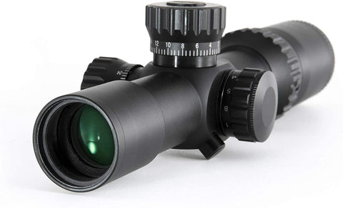 BRAND NEW! 1-5x24 First Focal Plane FFP Rifle Scope with Red Green Illuminated MOA Reticle, Anti-Reflection Devices