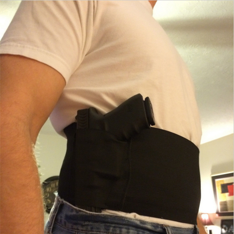 LARGE Slim Wrap Concealed Carry Belly Wrap Holster - for Waist Size 39-48""