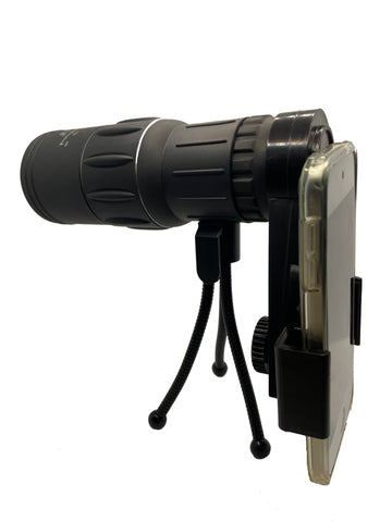 Dual Focus 16x52 Monocular Spotting Scope With Universal Phone Mount