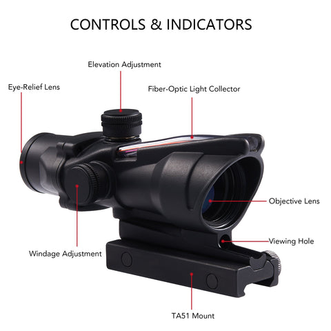 4x32 Tactical ACOG Style Rifle Scope with True Fiber Optic Red Illuminated Crosshair