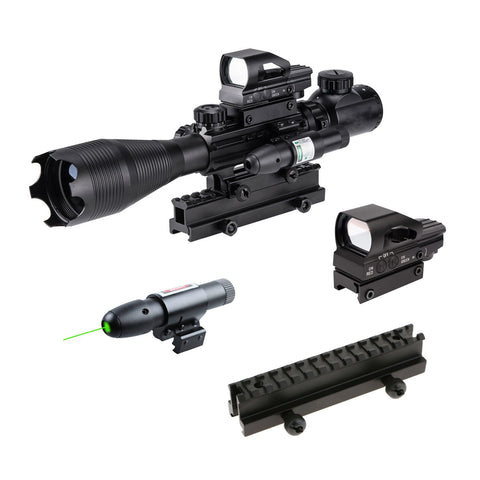 "Image of TAC-3: 4 Piece 4-16x50 Illuminated Reticle Scope Package - Includes 4 Mode Dot Sight,  Green or Red Laser and 1"" High Rise"