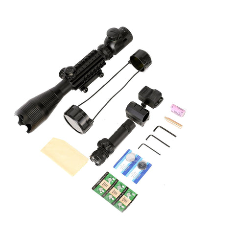 4 Piece Set 4-16x50 Illuminated Scope with Tinted Low Profile Reflex Mini Sight and Green Laser -V4
