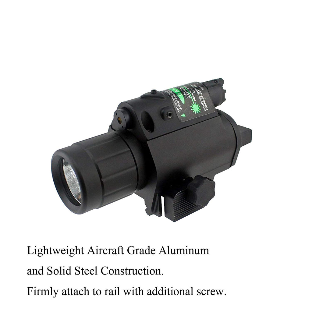 2in1 Combo CREE Q5 LED Flashlight 200LM & Green Dot Laser Sight for Standard 20mm rail