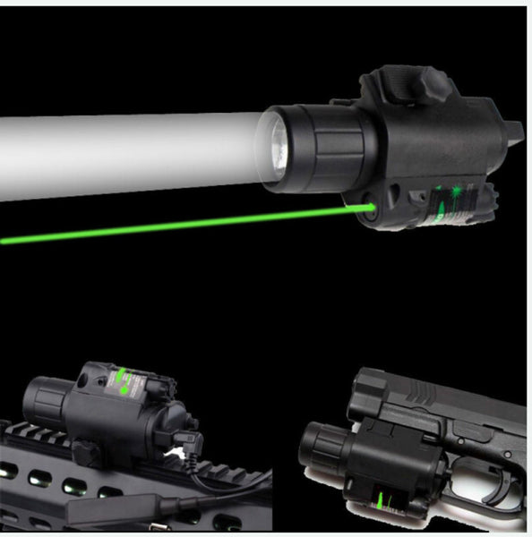 2in1 Combo CREE Q5 LED Flashlight 300LM & Green Dot Laser Sight for Standard 20mm rail