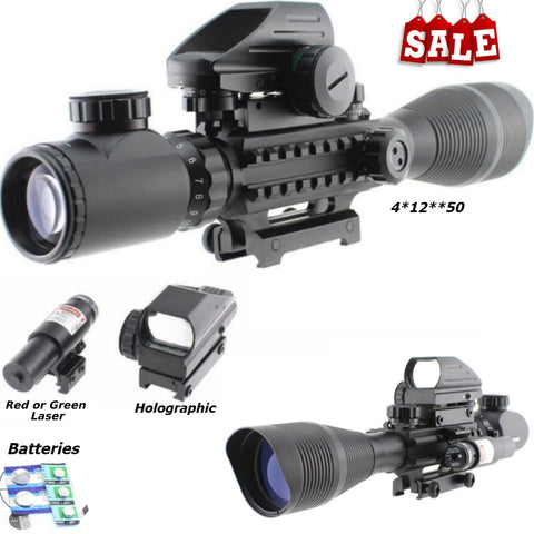 Image of 3 Piece Scope Package 4-12x50 Illuminated Scope, Red or Green Laser and Holographic Dot Sight