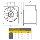 7.5-10HP 1PH 230V Less Controls - 24 Inch Axial Fan