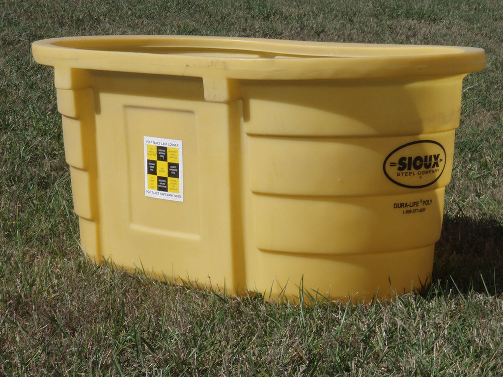 Sioux Steel Yellow Round End Poly Water Tanks Farm