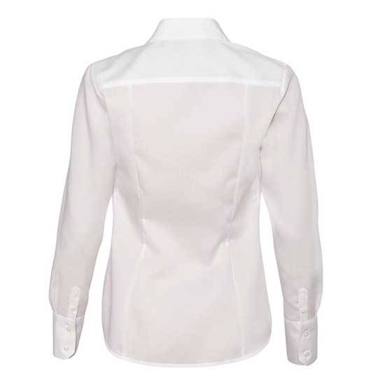 WOMEN'S CALVIN KLEIN NO-IRON DOBBY PINDOT DRESS SHIRT - BACK VIEW - WHITE