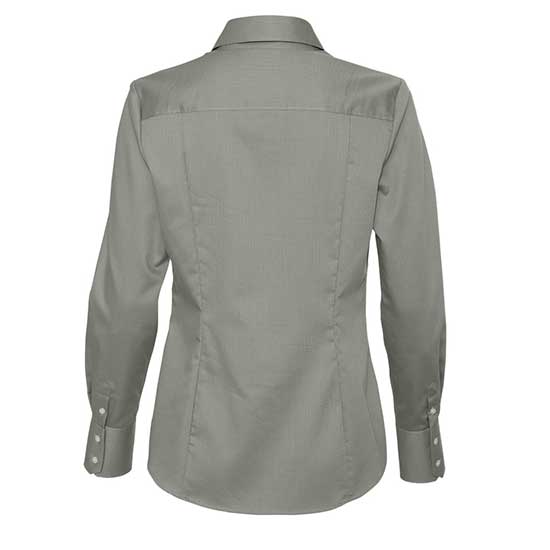 WOMEN'S CALVIN KLEIN NO-IRON DOBBY PINDOT DRESS SHIRT - BACK VIEW - GREY