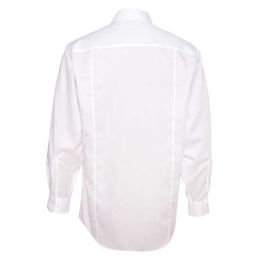 MEN'S CALVIN KLEIN NO-IRON DOBBY PINDOT DRESS SHIRT - BACK VIEW - WHITE