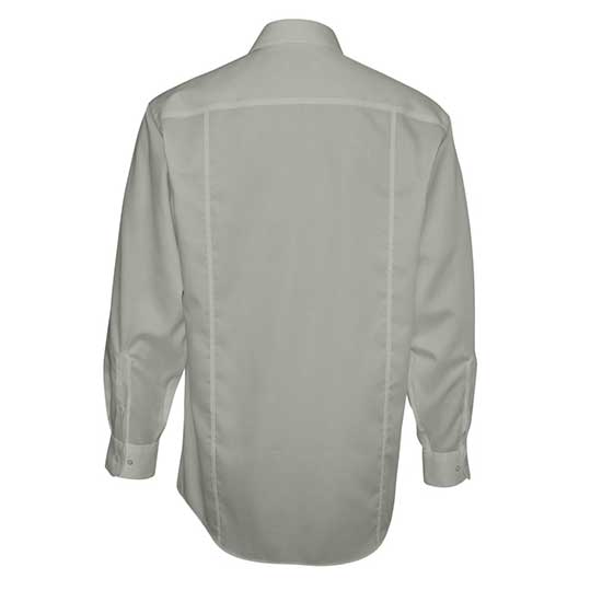 MEN'S CALVIN KLEIN NO-IRON DOBBY PINDOT DRESS SHIRT - BACK VIEW - GREY