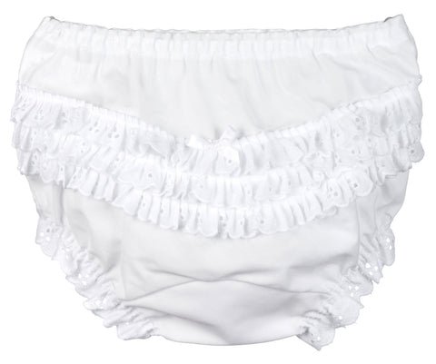 Girls White Batiste Rumba Panties (Sz 1 - 6)