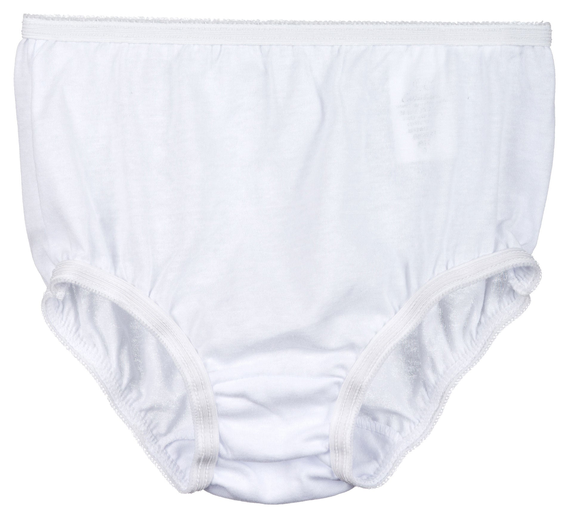Little Girls White Knit Brief Panties, (2-14)
