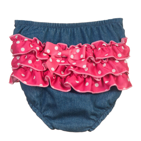 Baby Girls Denim Frilly Diaper Cover (Pink or Red), (NB to XL)