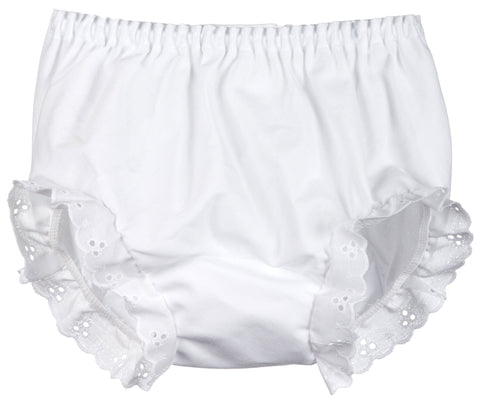 Girls White Double Seat Panty, (Sz 1 - 10) (Popular)