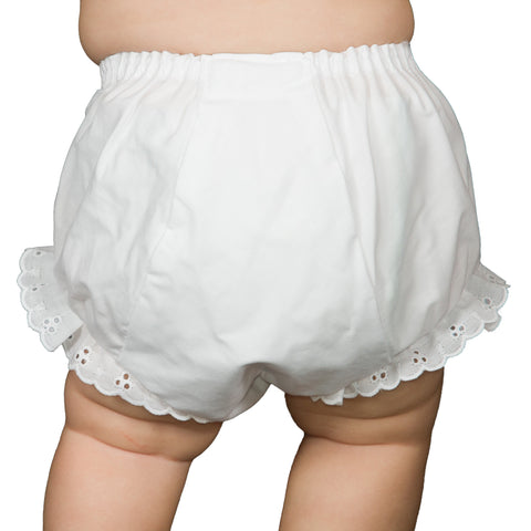 Baby Girls White Large Fit Double Seat Diaper Cover Bloomers (NB - XL)