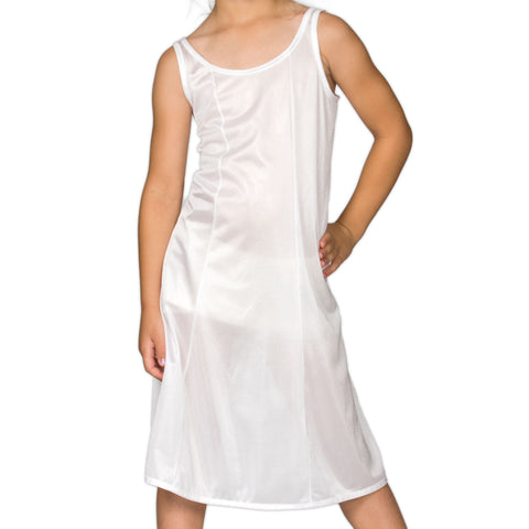 Girls White Sleek Nylon Full-Slip - Tea Length, (4-16)