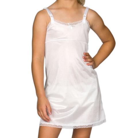Girls White Simple Empire Waist Full-Slip, (4-14)