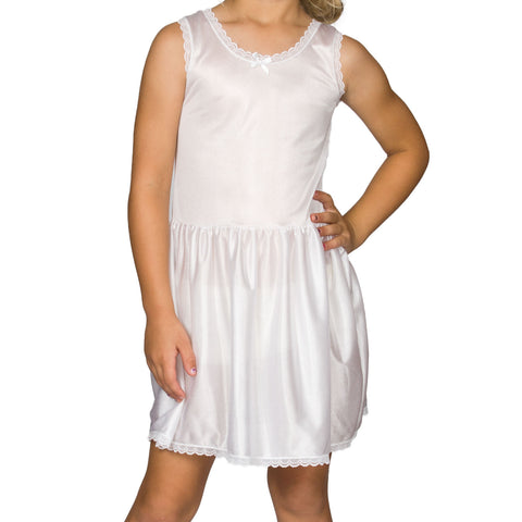 Girls White Simple Nylon Full-Slip, (4-14)