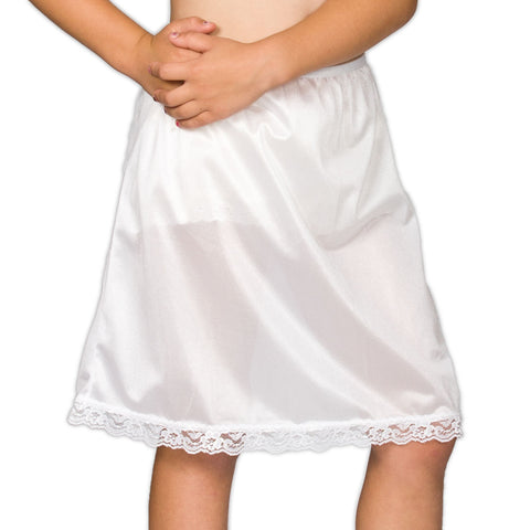 Girls White Basic Nylon Half-Slip, (4-14)