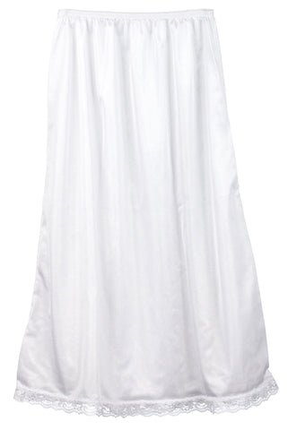 Girls White Nylon Half-Slip - Tea Length, (7-14)
