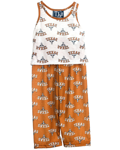 University Of Texas UT Longhorn Girls Capri Pajama Set (2T-16)