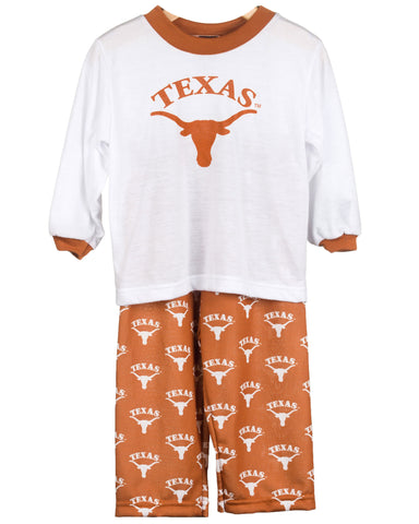 University Of Texas UT Longhorn Long Sleeve Screen Print PJ Set (9m - 16)