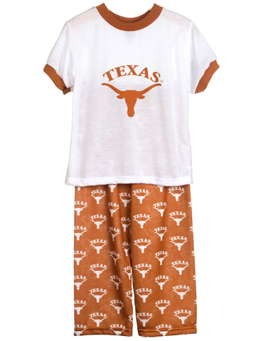 University Of Texas UT Longhorn Short Sleeve Screen Print PJ Set (9m - 16)