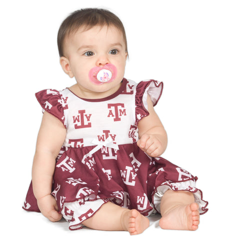 Baby Girls Texas A&M Aggies Frilly Infant Jumpsuit (NB - 24m)