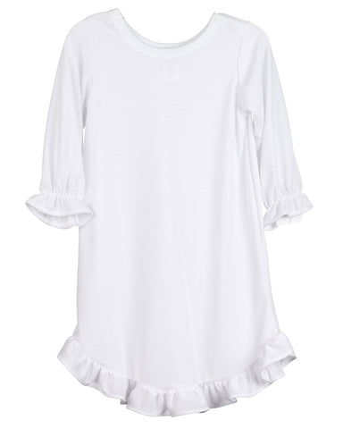 Girls Plain White Monogrammable Pajama Gown (Sz 3-8)