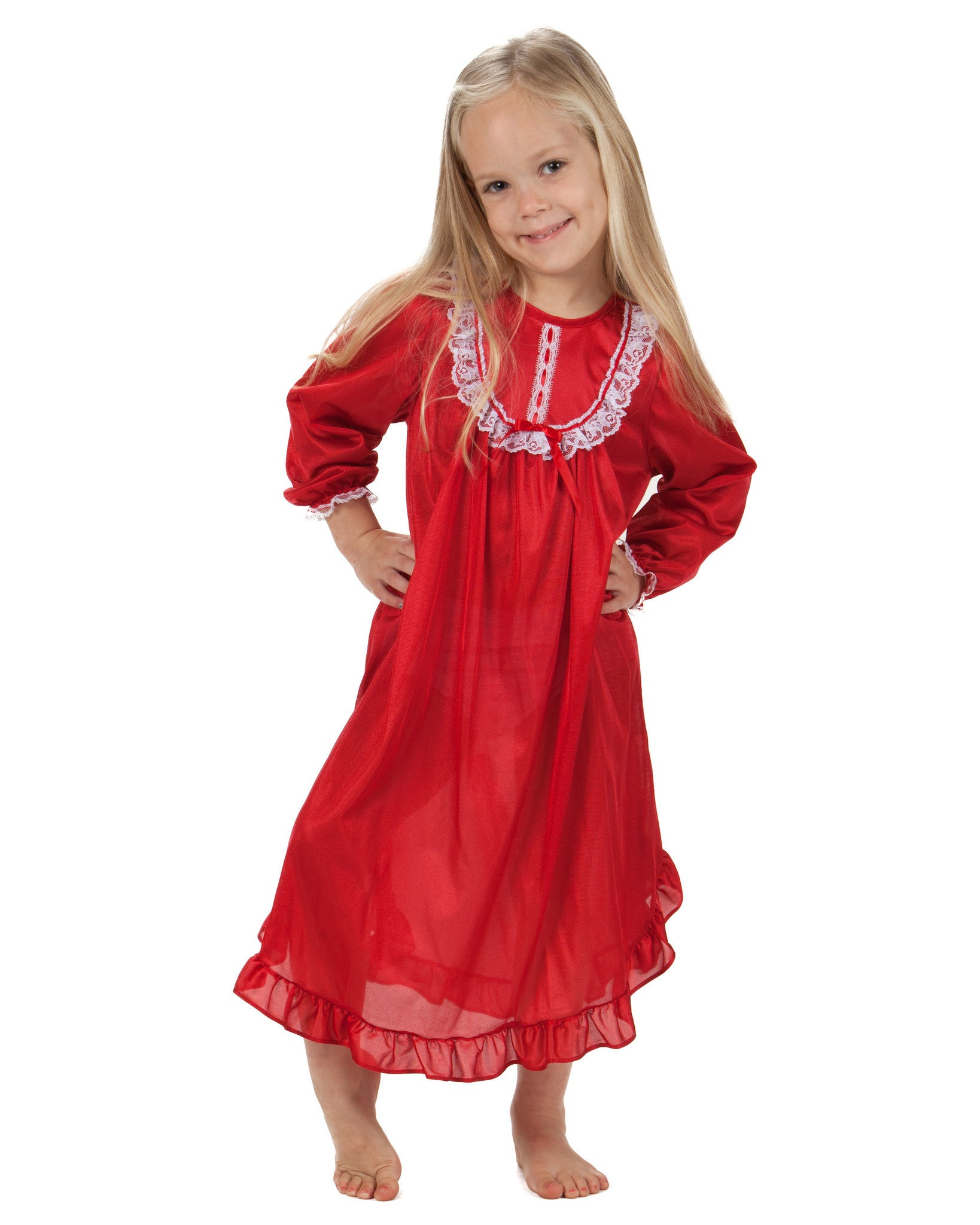 Laura Dare Girls Long Sleeve Traditional Nightgown (6 Colors Available)