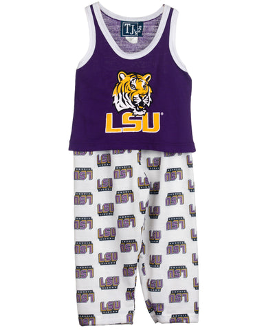 Louisiana State LSU Tigers Girls Capri Pajama Set (2T - 16)