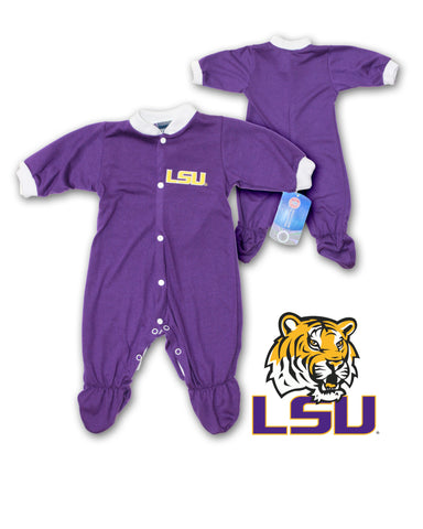 Louisiana State LSU Tigers Baby Footed Jumpsuit (NB - 24m)