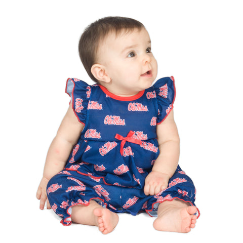 OleMiss Rebels Baby Girls Frilly Jumpsuit (NB - 24m)