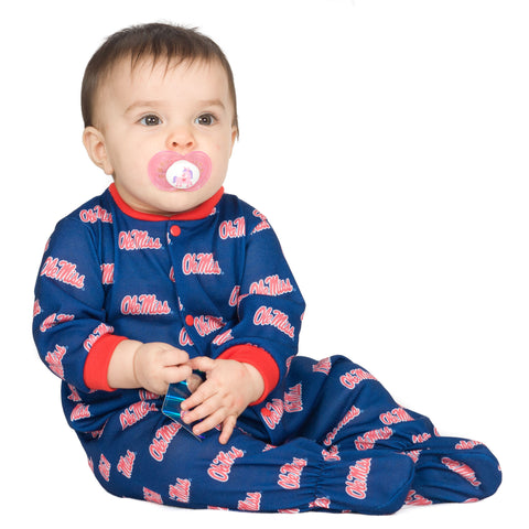 OleMiss Rebels Unisex Baby Footed Jumpsuit (NB - 24m)