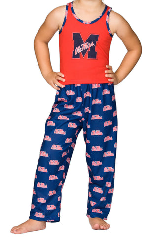 OleMiss Rebels Girls Capri Pajama Set (2T - 16)