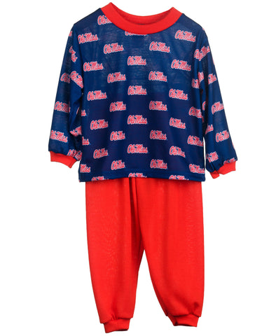 Ole Miss Rebels Boys or Girls Long Sleeve 2-Piece Pajama Set (9m - 16)