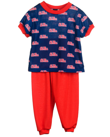 Ole Miss Rebels Boys or Girls Short Sleeve 2-Piece Pajama Set (9m - 16)