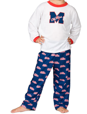 Ole Miss Rebels Boys or Girls 2-Piece Long Sleeve PJ Set (9m - 16)