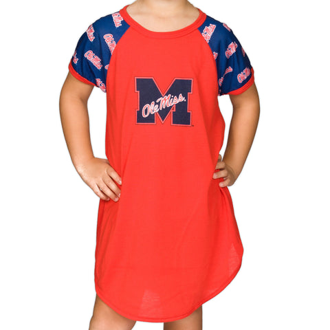 Ole Miss Rebels Girls Short Sleeve Dorm Nightshirt (2T - 16)