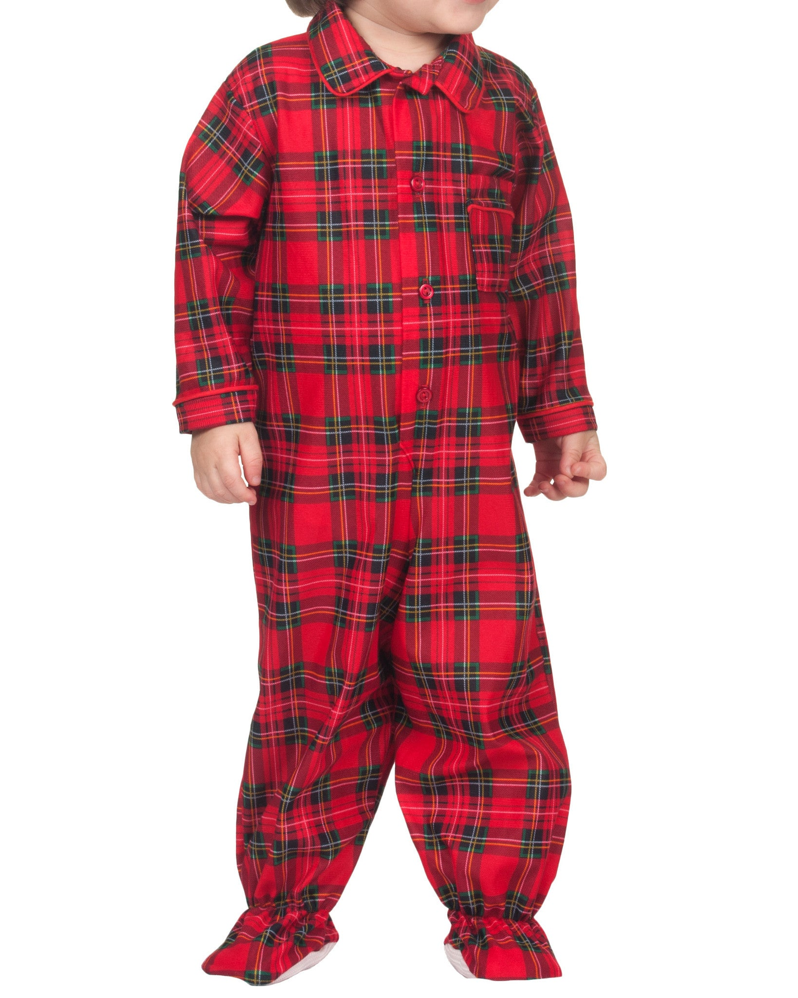 Infant Boys Holiday Plaid Footed Jumpsuit