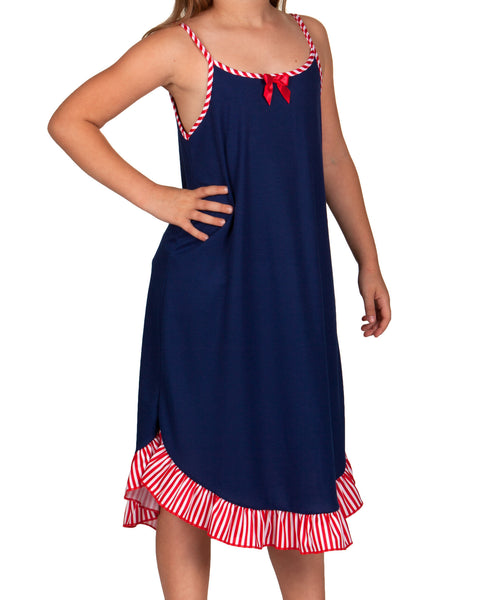 Laura Dare Patriotic Spaghetti Strap Gown (Royal or Navy Blue)